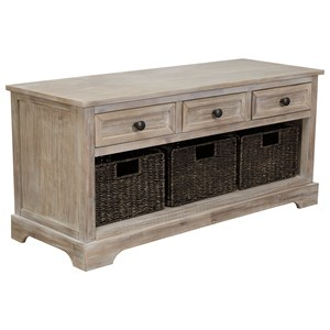 Storage Bench with 3 Woven Baskets and 3 Drawers