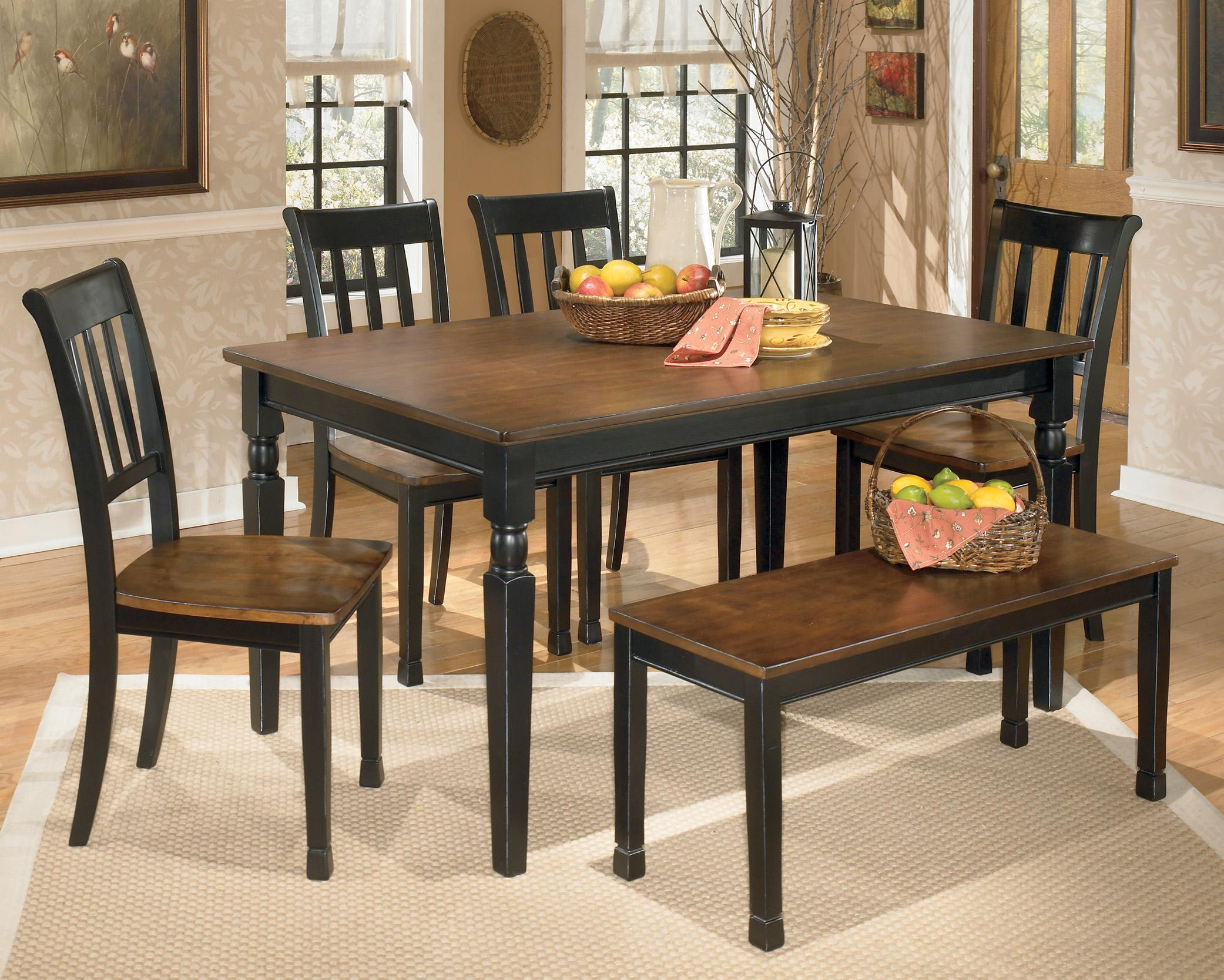Owingsville 6-Piece Rectangular Table Set with Bench by Ashley (Signature Design) at Johnny Janosik