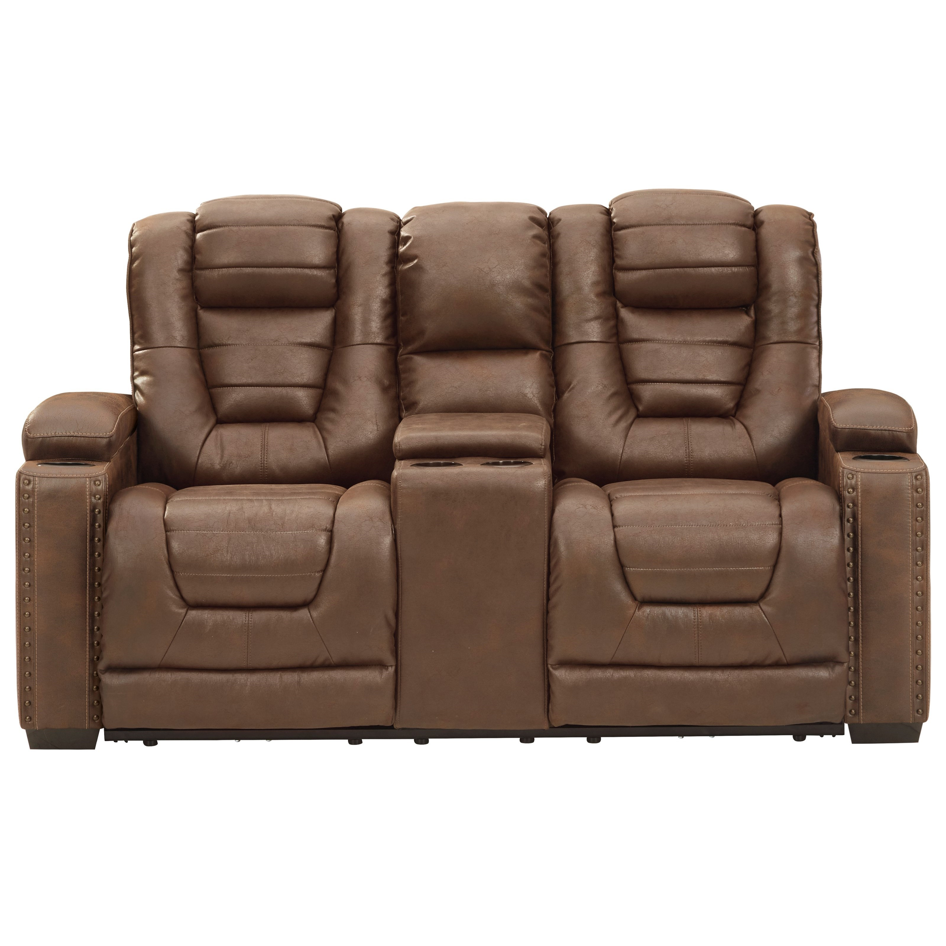 Owner's Box Power Rec Loveseat w/ Console & Adj Hdrsts by Signature Design by Ashley at Furniture Barn