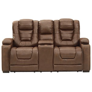 Faux Leather Power Rec Loveseat w/ Console & Adj Hdrsts