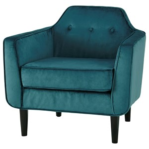 Mid-Century Modern Accent Chair with Shaped Tufted Back & Crushed Velvet Fabric