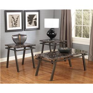 Occasional Table Set with Metal Bases & Faux Marble Tops