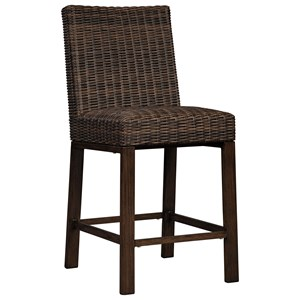 Set of 2 Resin Wicker Barstools