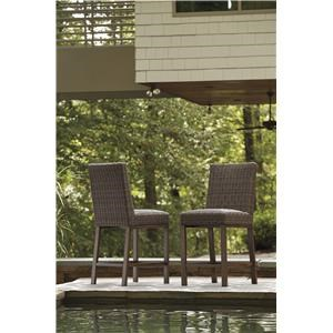 Set of 2 Resin Wicker Barstools