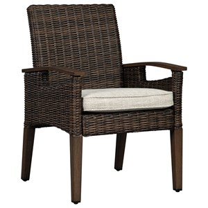 Set of 2 Resin Wicker Arm Chairs with Cushion