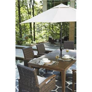 Rectangular Dining Table with Umbrella Option