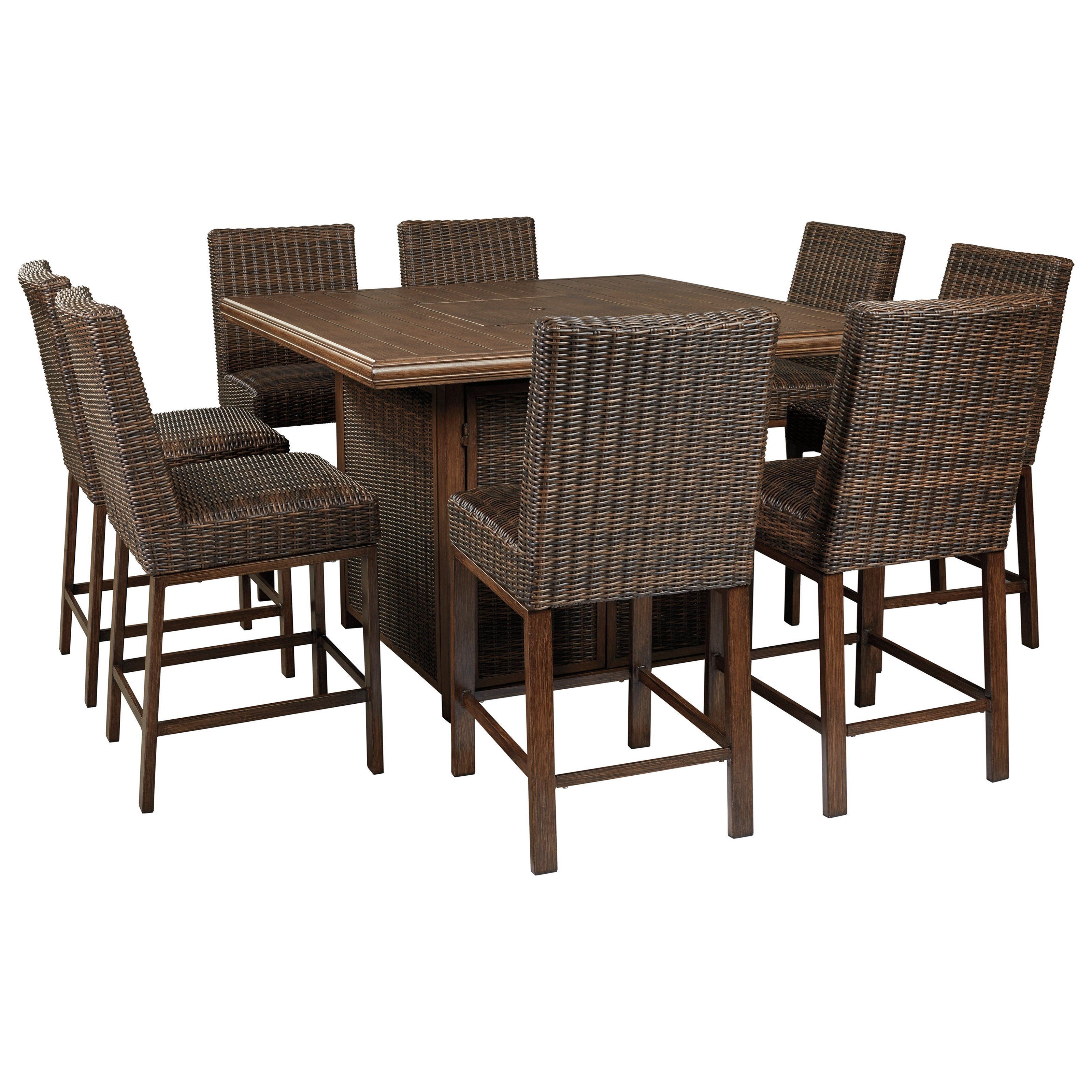 Paradise Trail 9 Piece Outdoor Firepit Table Set by Ashley (Signature Design) at Johnny Janosik