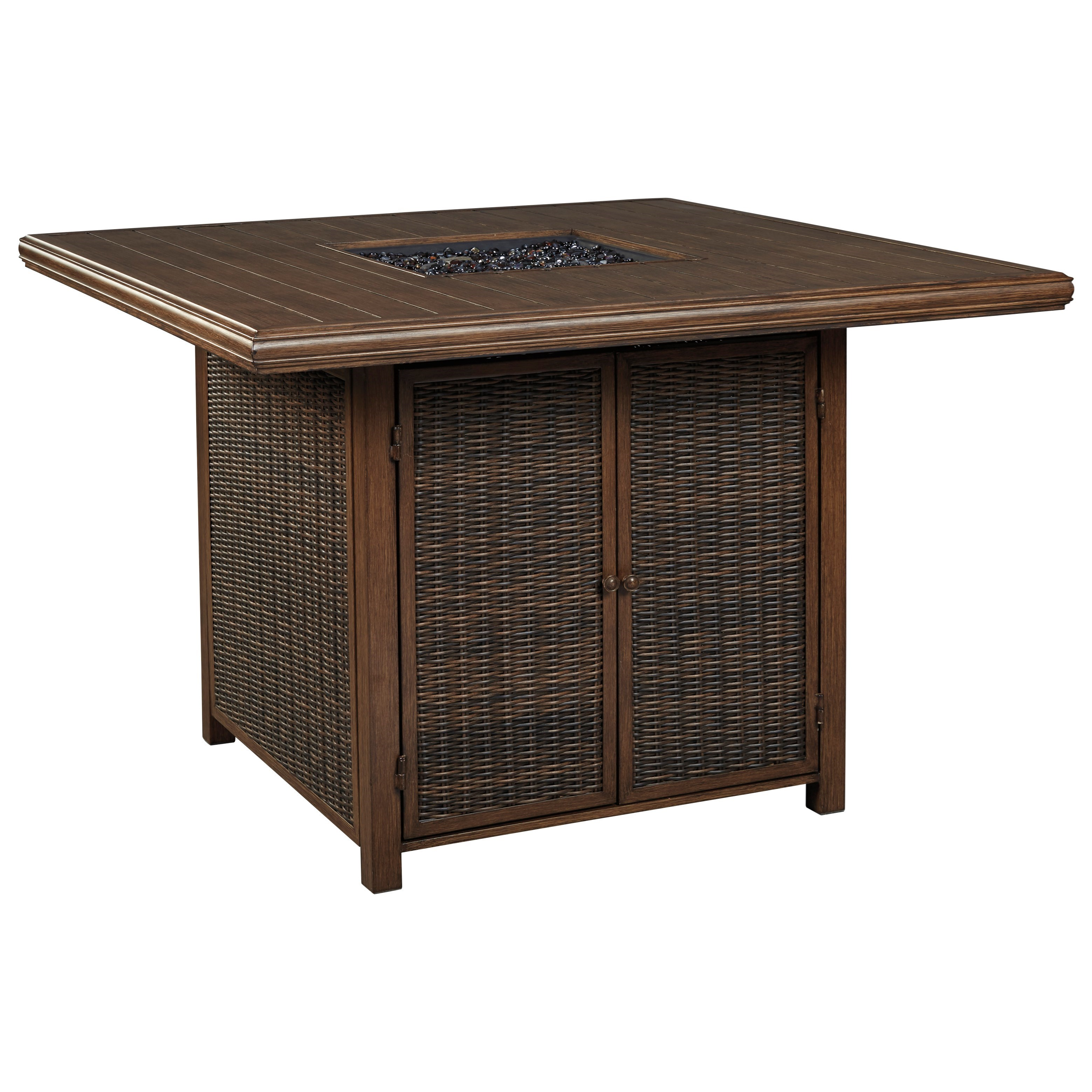Paradise Trail Square Bar Table with Fire Pit by Signature Design by Ashley at Darvin Furniture