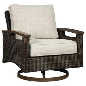Set of 2 Resin Wicker Swivel Lounge Chairs