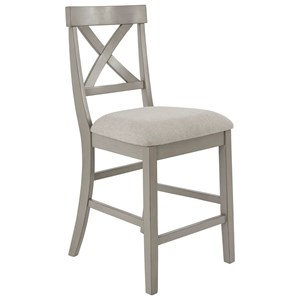 Casual Counter Height Stool with Upholstered Seat