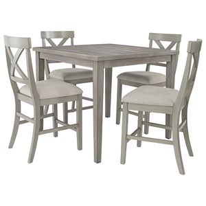 Casual 5-Piece Counter Table and Chair Set