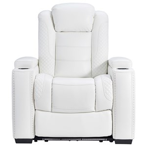 Faux Leather Power Recliner with Adjustable Headrest & Theater Lighting