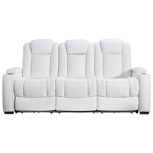 Faux Leather Power Reclining Sofa w/ Adjustable Headrests & Theater Lighting