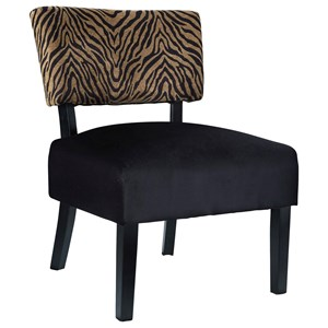Tiger Print/Black Velvet Fabric Armless Accent Chair