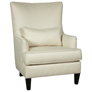 Glam Modern Wing Back Accent Chair in Ivory Fabric with Lumbar Pillow
