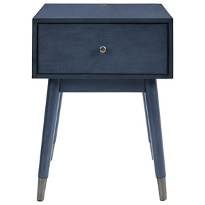 Mid-Century Modern Accent Table with Drawer and 2 USB Ports