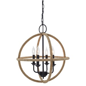 Madelia Tan Natural Jute/Black Metal Pendant Light