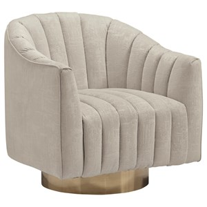 Barrel Back Swivel Accent Chair with Textured Fabric with Channel Tufting
