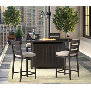 5 Piece Pub Dining Set with Fire Pit Table