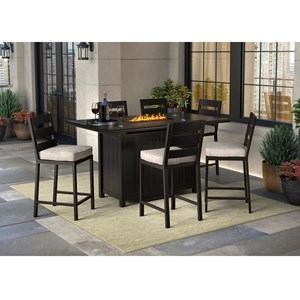 7 Piece Pub Dining Set with Fire Pit Table