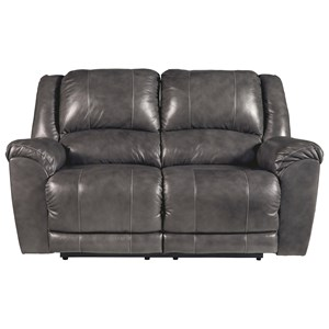 Leather Match Reclining Power Loveseat