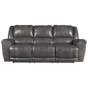 Leather Match Reclining Power Sofa