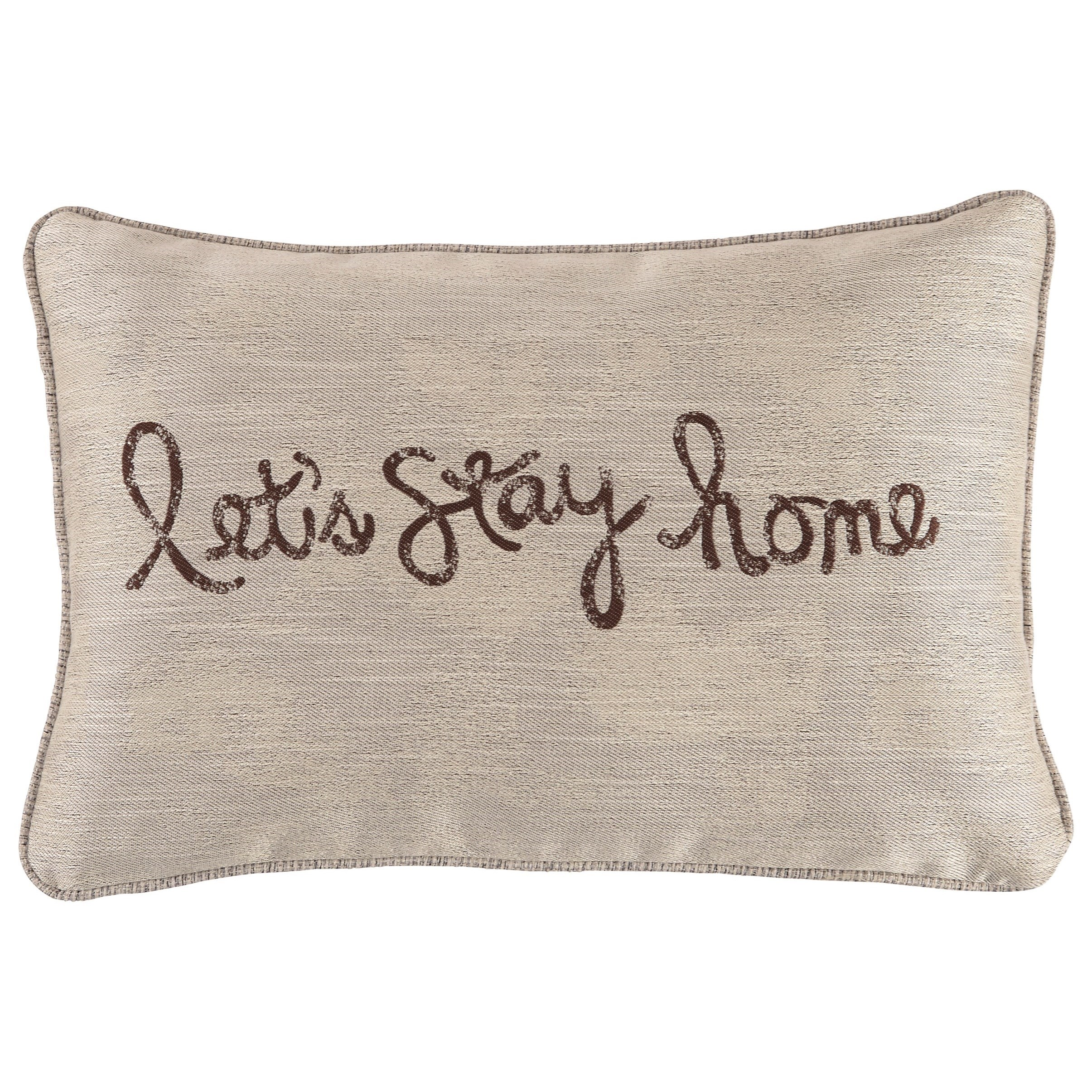 Pillows Let's Stay Home Chocolate Pillow by Vendor 3 at Becker Furniture