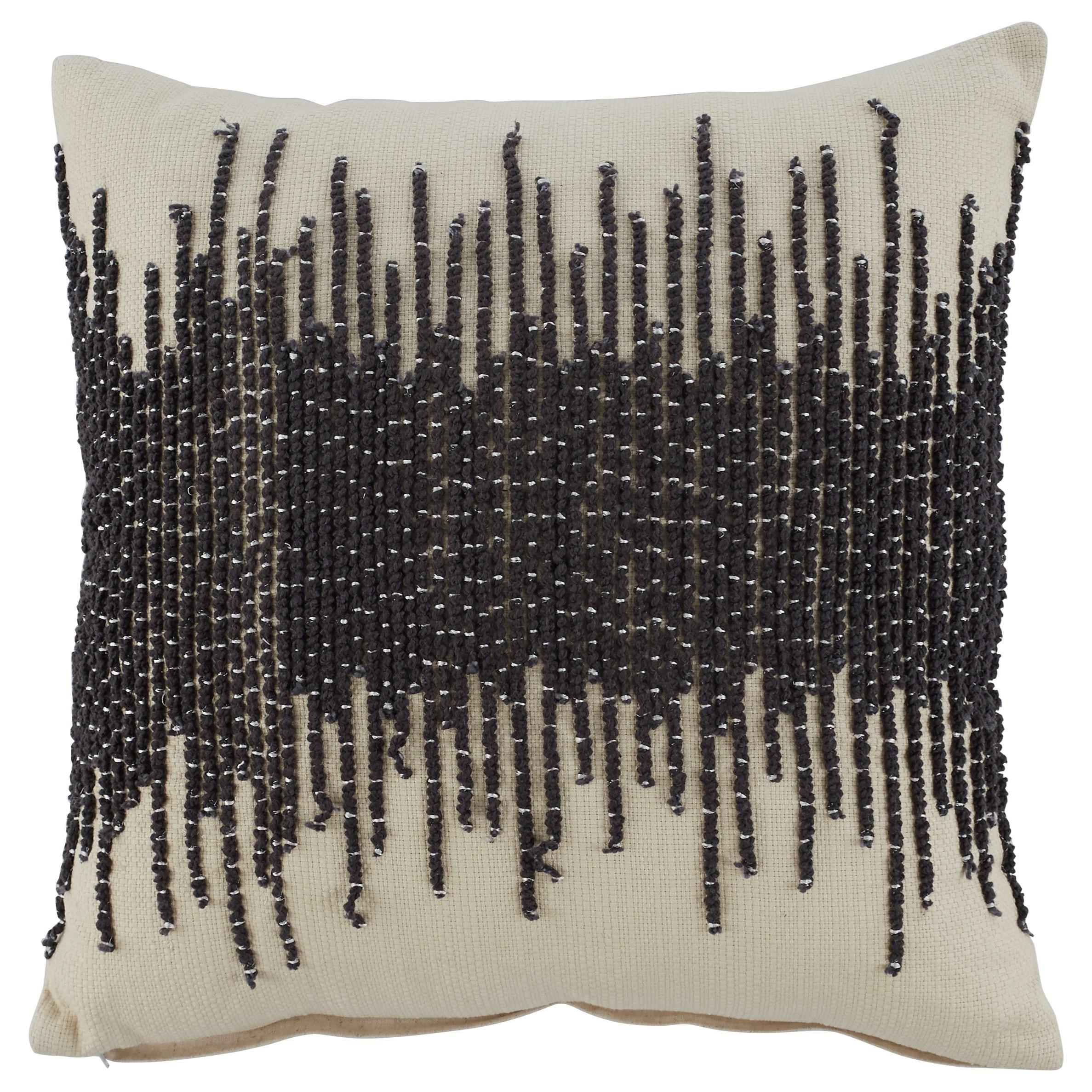 Pillows Warneka Charcoal/Cream Pillow by Ashley (Signature Design) at Johnny Janosik