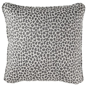 Indoor/Outdoor Piercy Gray Pillow in Cheetah Print