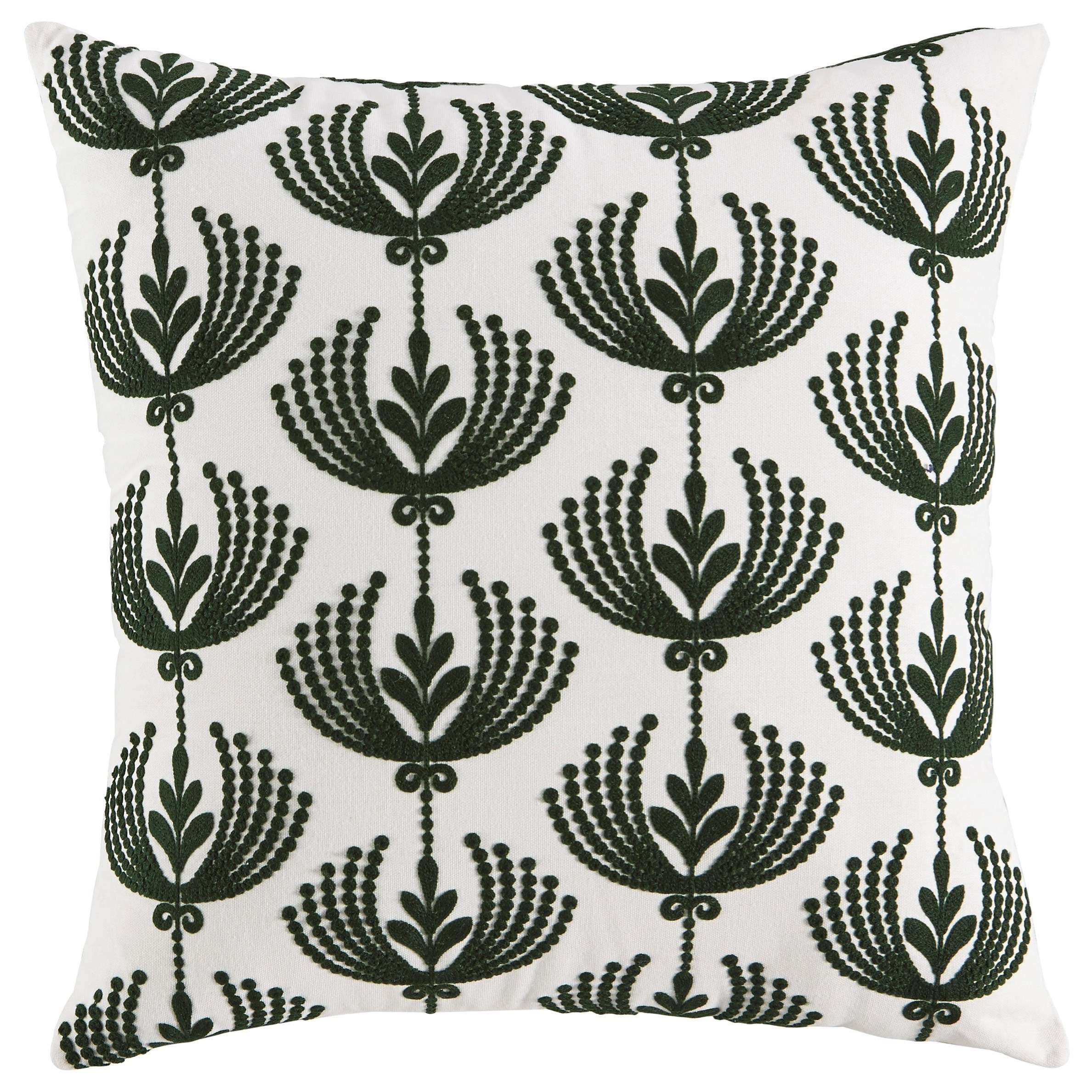 Pillows Dowden Cream/Emerald Pillow by Ashley (Signature Design) at Johnny Janosik