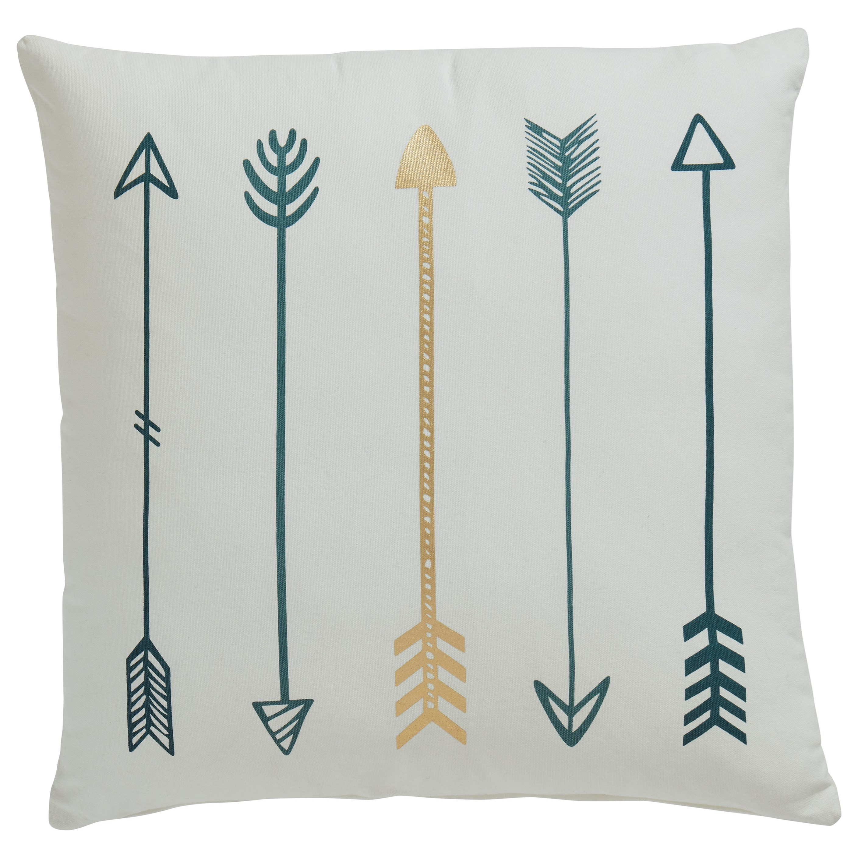 Pillows Gyldan White/Teal/Gold Pillow by Ashley (Signature Design) at Johnny Janosik