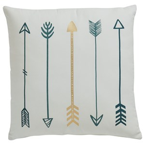 Gyldan White/Teal/Gold Pillow