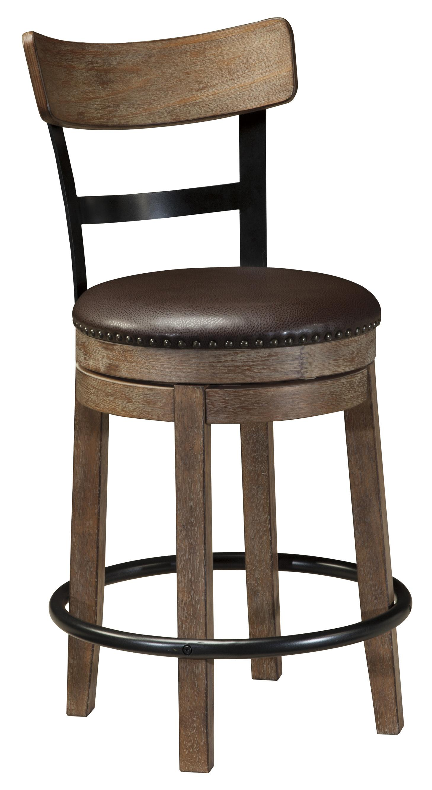 Pinnadel Upholstered Swivel Barstool by Signature Design by Ashley at Zak's Warehouse Clearance Center