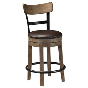 Signature Design by Ashley Pinnadel Upholstered Swivel Barstool