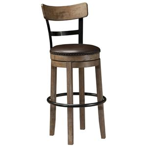 Tall Upholstered Swivel Barstool with Wood & Metal Backrest