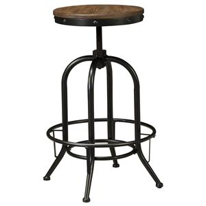 Tall Swivel Stool with Metal Base & Adjustable Height Wood Seat