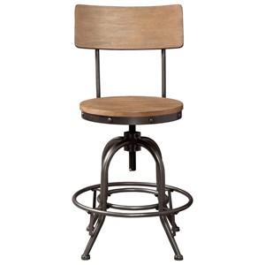 Industrial Wood/Metal Swivel Stool with Backrest