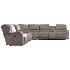 Power Reclining Sectional with Right Storage Console Loveseat