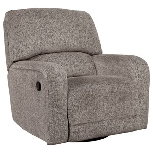 Swivel Glider Recliner with 360 Degree Swivel & Rounded Track Arms
