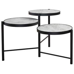 Round Cocktail Table with Multi-Level Faux Marble Top
