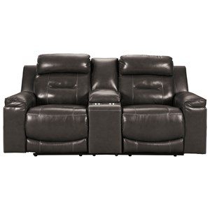 Contemporary Leather Match Power Reclining Loveseat w/ Console & Adj Headrests