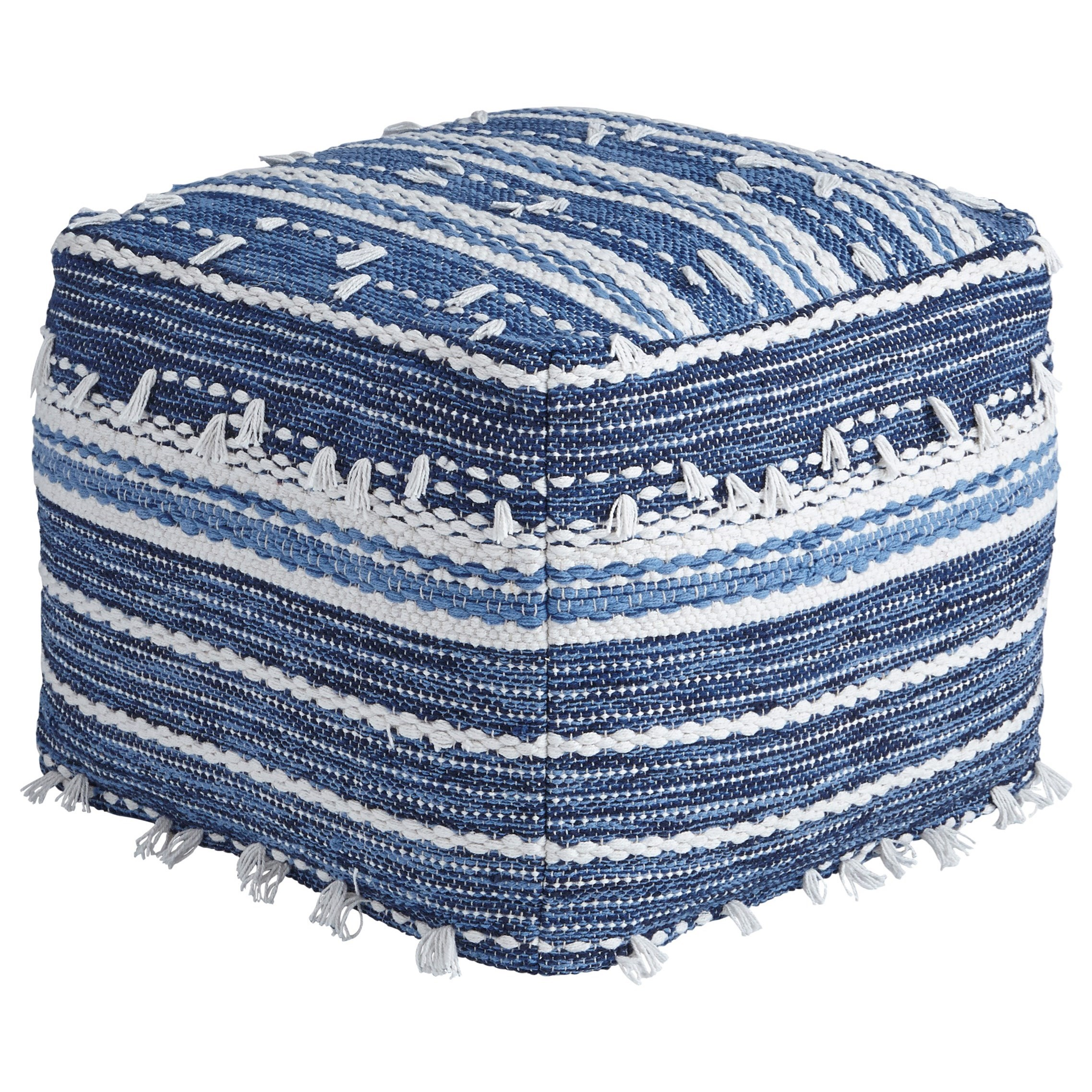 Poufs Anthony - Blue/White Pouf by Signature Design by Ashley at Furniture and ApplianceMart
