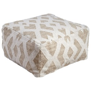 Signature Design by Ashley Poufs Badar - Taupe/White Pouf