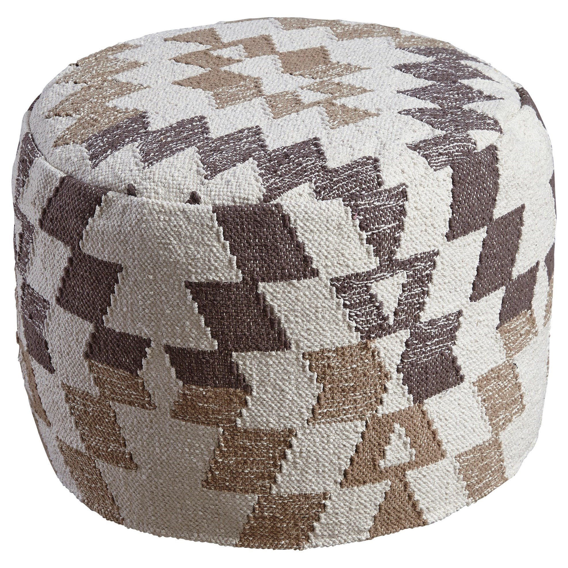 Poufs Abraham White/Brown Pouf by Signature Design by Ashley at Westrich Furniture & Appliances