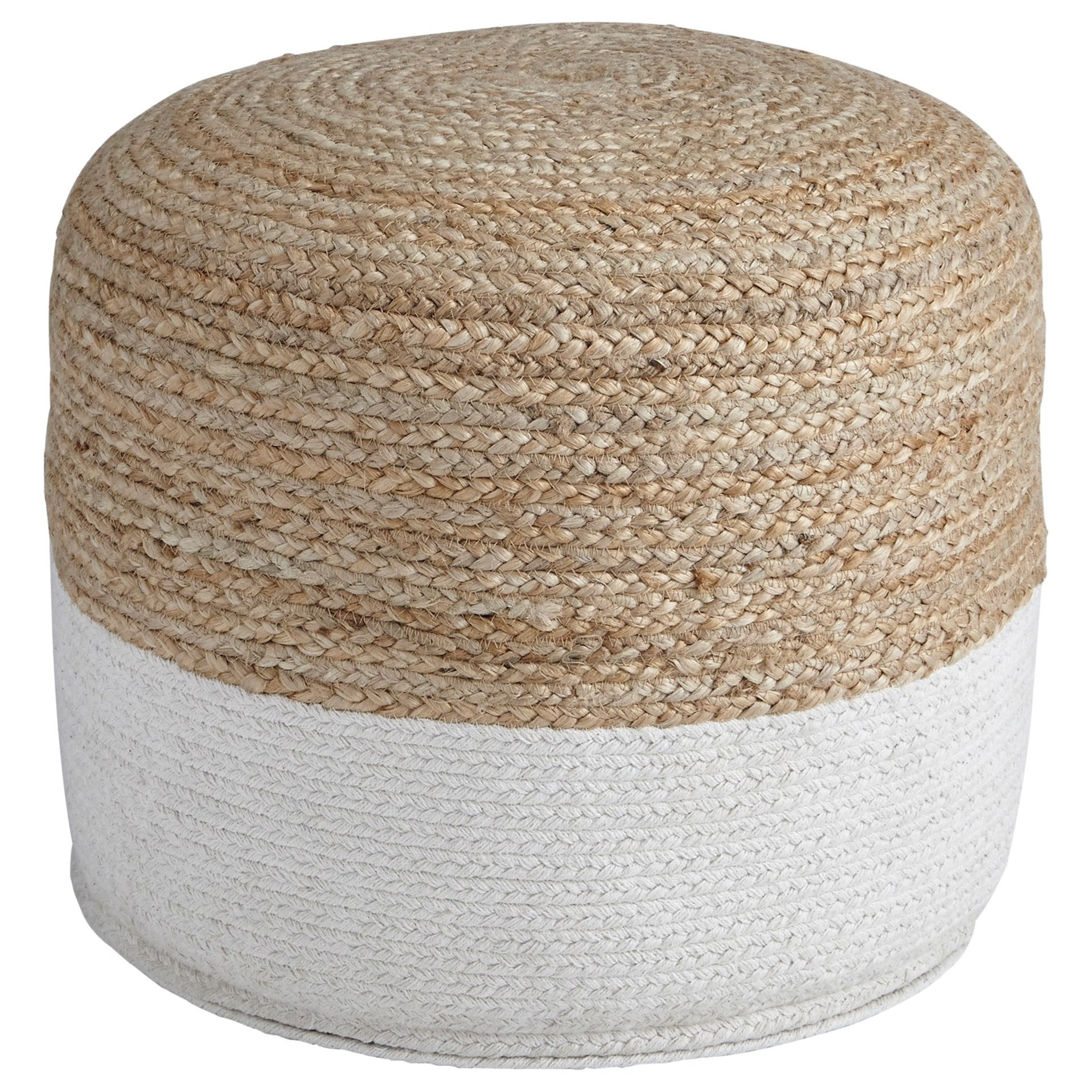Poufs Sweed Valley - Natural/White Pouf by Signature Design by Ashley at Beds N Stuff