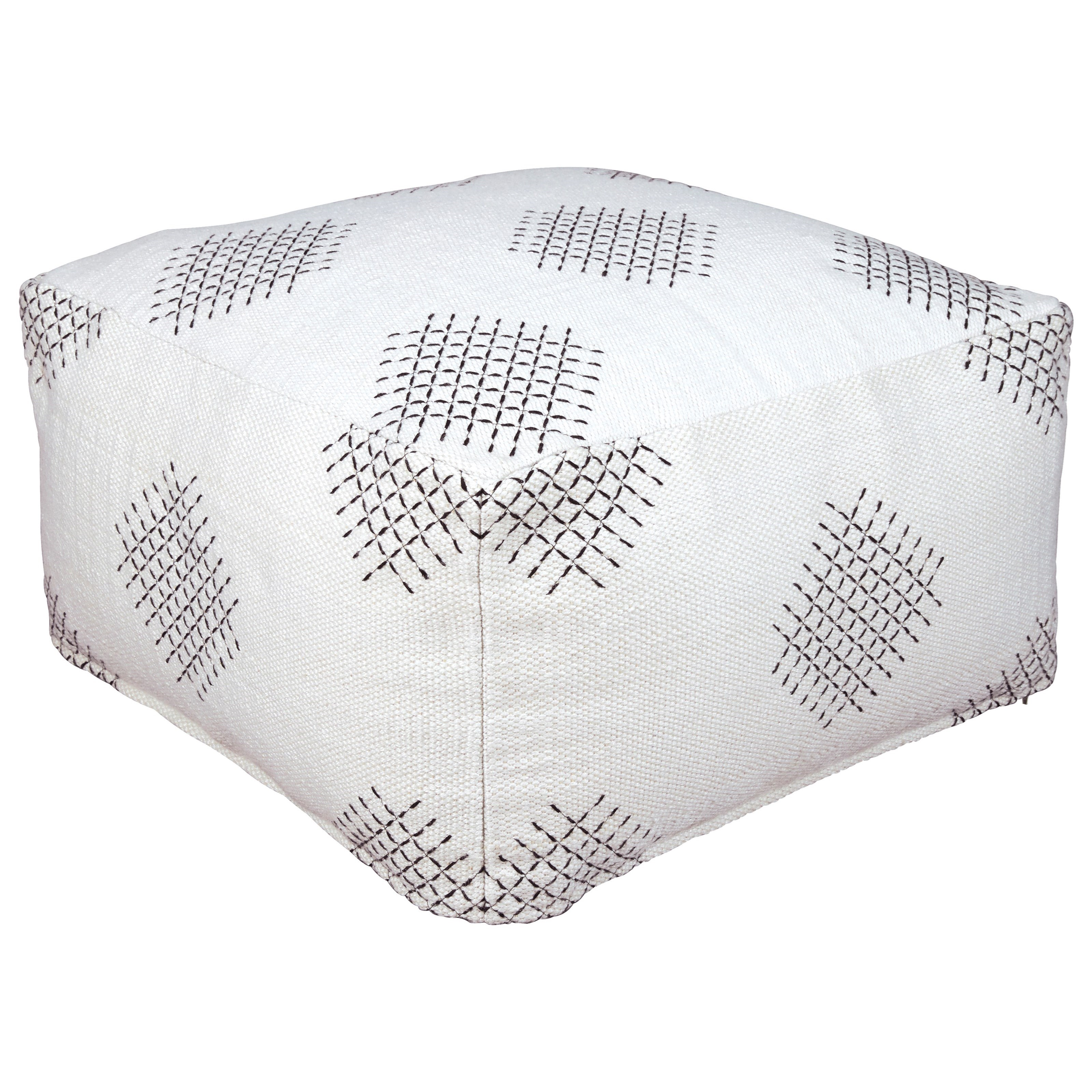 Poufs Mabyn Ivory/Beige/Gray Pouf by Ashley (Signature Design) at Johnny Janosik