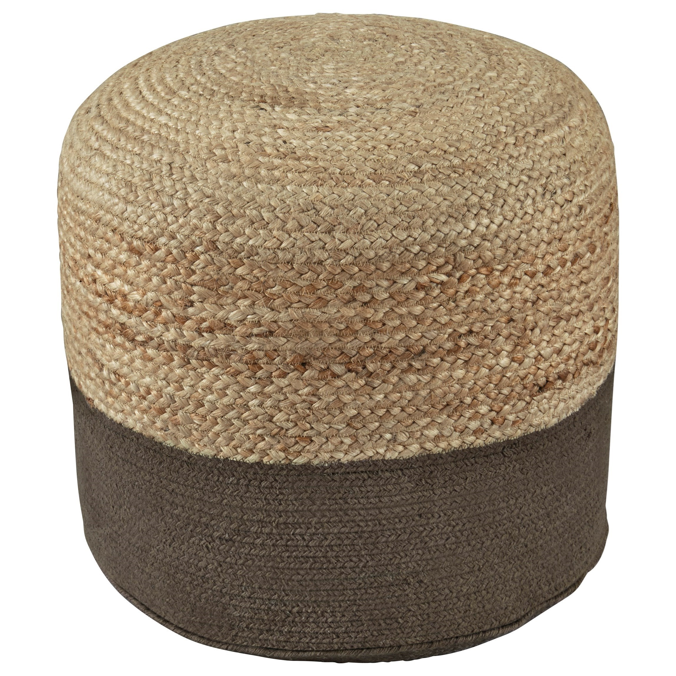 Poufs Sweed Valley Natural/Charcoal Pouf by Signature Design by Ashley at Miller Waldrop Furniture and Decor