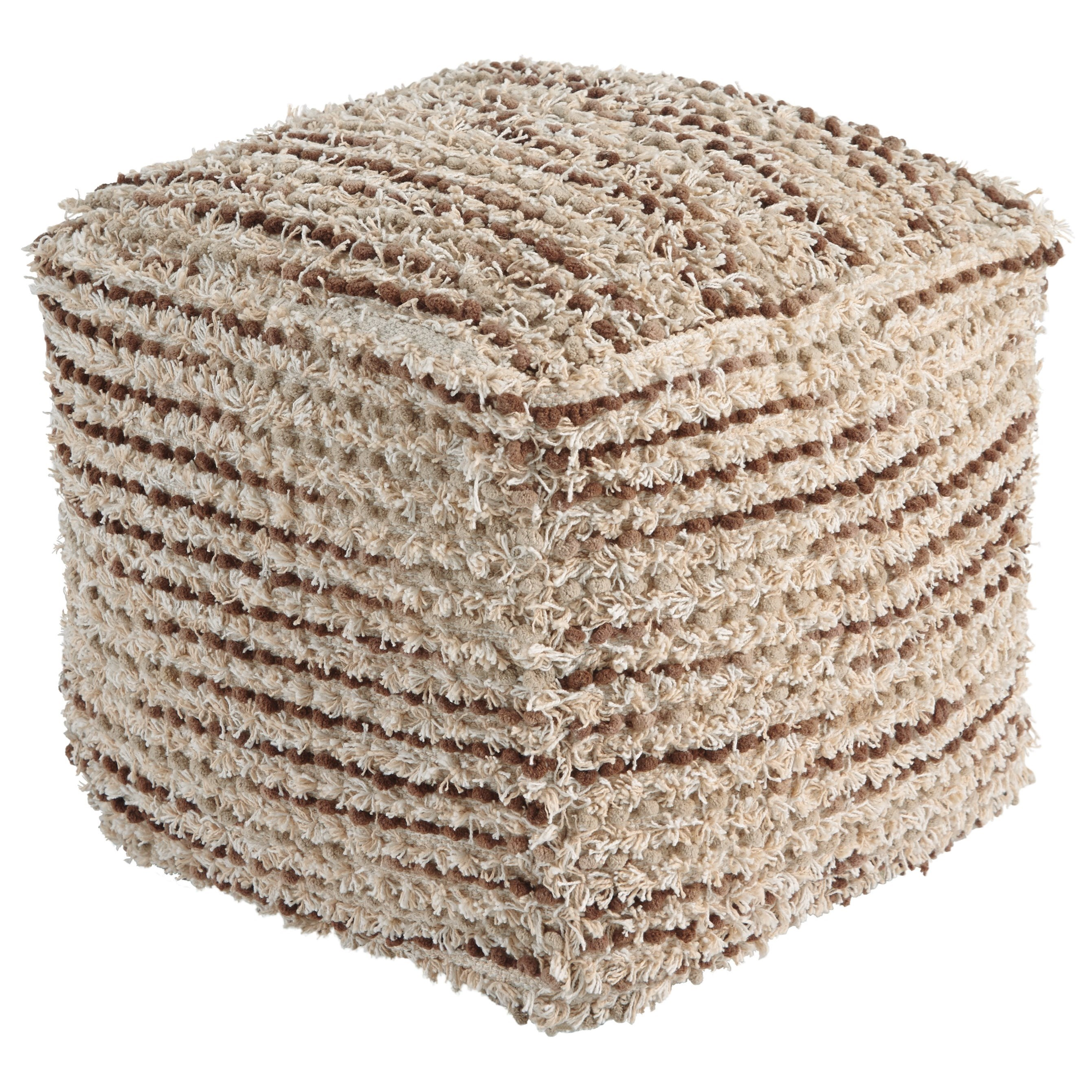 Poufs Jorge Brown/Cream Pouf by Ashley (Signature Design) at Johnny Janosik