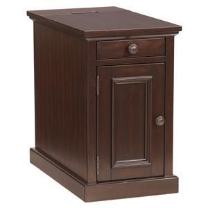 Chairside End Table with Power Outlets & Pull-Out Shelf