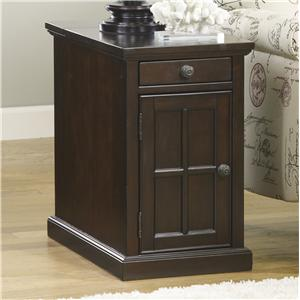 Chair Side End Table with Power Outlets & Pull-Out Shelf